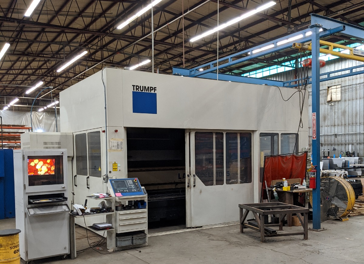 Trumpf Lasercell 1005 5-Axis laser This allows us to laser cut, chamfer, and bevel pipe, structural steel, and tubing with incredible accuracy and efficiency