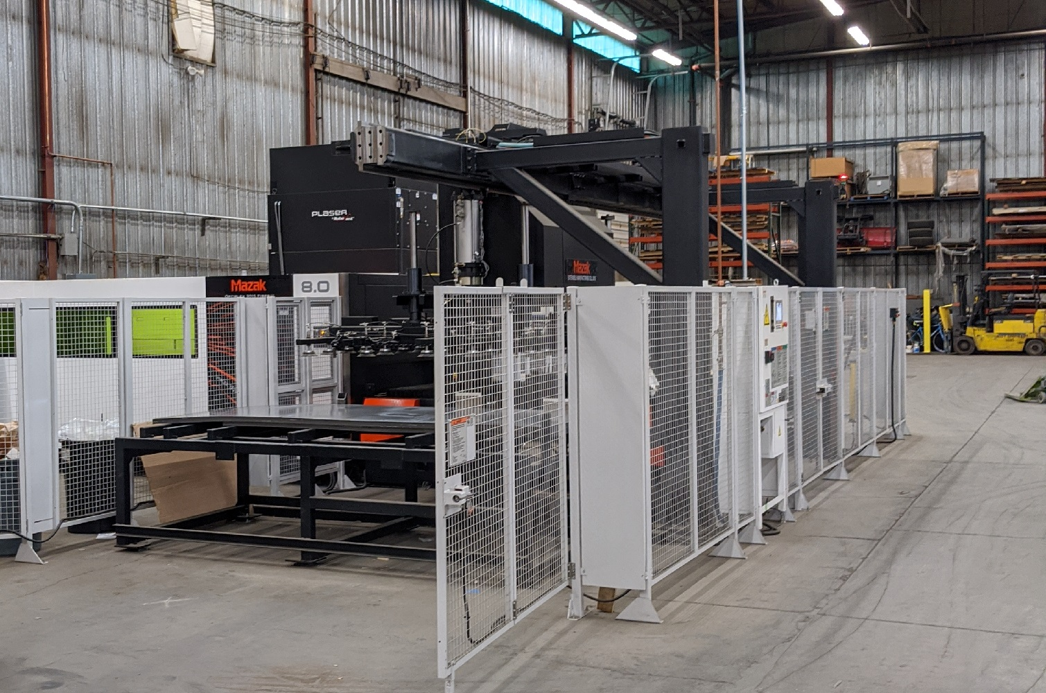 "Mazak 8 KW fiber laser Brand new as of 2019, this auto loading/unloading laser has the ability to run unattended giving Abasco the ability to keep producing products even in our sleep. Its versatile cutting range includes up to 1"" stainless and carbon steel as well as ½"" brass. It excels at lighter gauge materials with some cutting speeds exceeding 2,000 inches per minute."